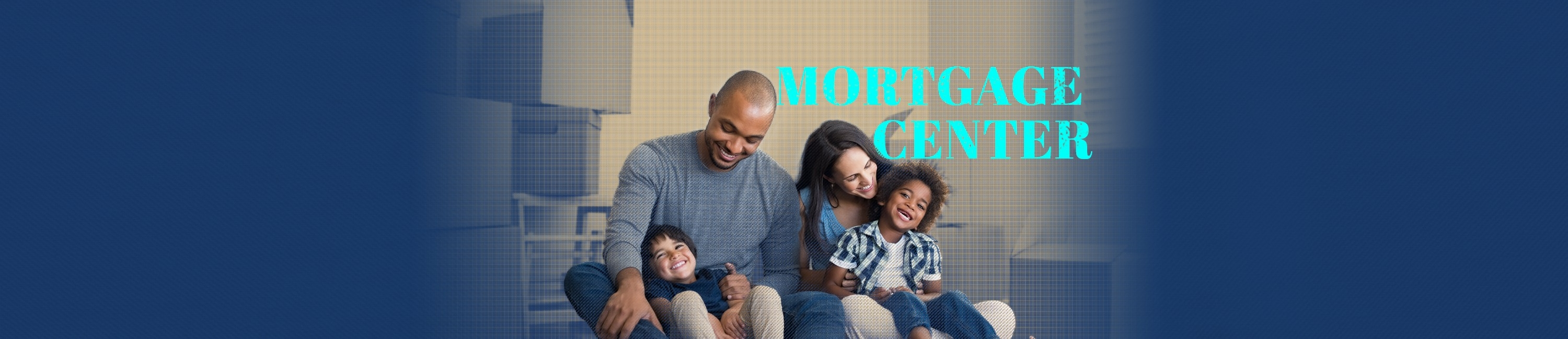 family smiling happily since they just purchased their new home with community state bank Mortgage Center Words on photo say Mortgage Center